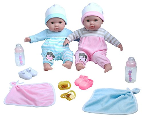 "Berenguer Boutique TWINS-  15"" Soft Body Baby Dolls - 12 Piece Gift Set with Open/Close Eyes- Perfect for Children 2+"