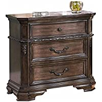 Laconia French Country 3 Drawer Nightstand in Weathered Brown Birch Wood