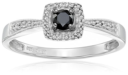 Sterling Silver Black and White Diamond Cushion Ring (1/4 cttw, I J Color, I3 Clarity)