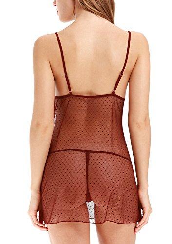 Adorneve Ropa Interior Súper Atravtiva de Encajes para Mujer Conjuntos de Vestido Transparente y Tanga Rojo Oscuro