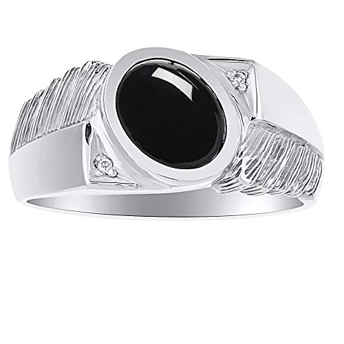 (Mens Black Onyx & Diamond Ring 14K White Gold)