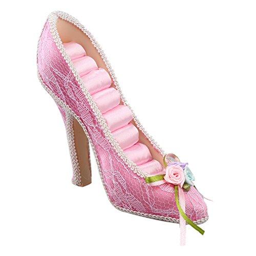 Sodial Bagues Chaussure Rose A Support Affichage Talons De r Hauts Style Paillettes Bijoux HCqHr