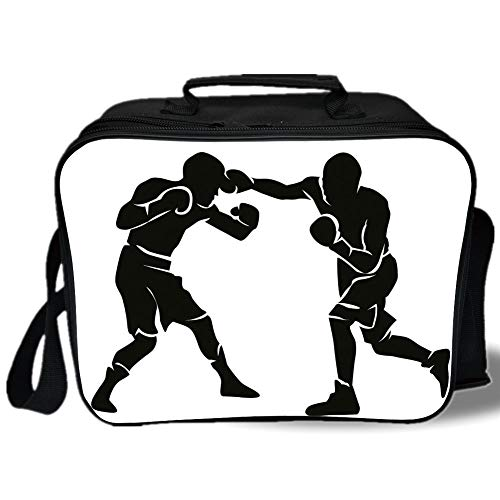 Sports 3D Print Insulated Lunch Bag,Black Silhouettes of Professional Boxers Fighters Combative Exercise Punch Attack Decorative,for Work/School/Picnic,Black White