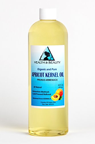 (Apricot Kernel Oil Organic Carrier Cold Pressed by H&B OILS CENTER Premium Fresh 100% Pure 16 oz )