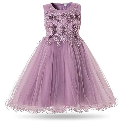 CIELARKO Girls Dress Flower Pearls Kids Party Wedding Dresses for 2-11 Years (4-5 Years, Purple)]()
