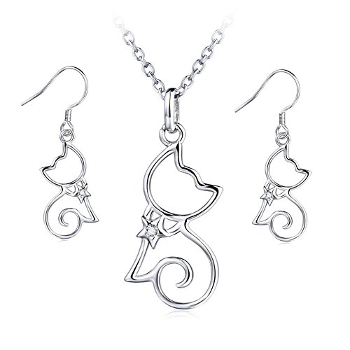 YFN Sterling Silver CZ Open Little Cat Dangle Earrings Pendant Necklace 18'' (A Set Cat Earrings and Necklace) by YFN