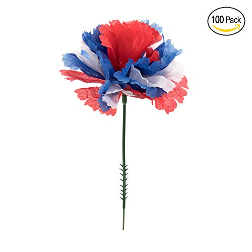 White Artificial Wreath - Royal Imports 100 Red/White/Blue Flag Silk Carnations, Artificial Fake Flower for Bouquets, Weddings, Cemetery, Crafts & Wreaths, 5