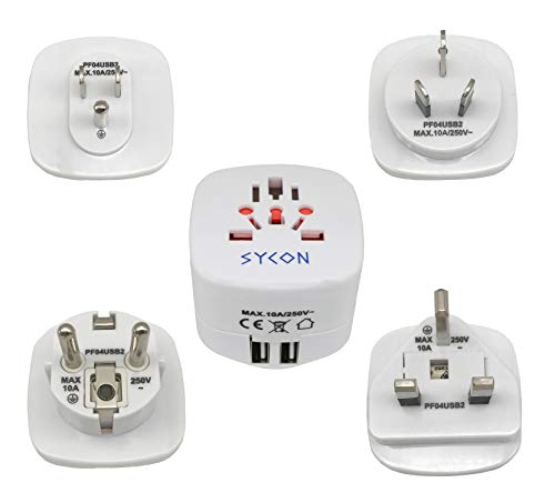 Sycon All-in-One International Travel Plug Adapter with Dual USB Ports (UP-9KU) - Great for iPhone/Smartphones/Laptops & More (US/EU/UK/AU Adapter/W USB) by Sycon (Image #8)