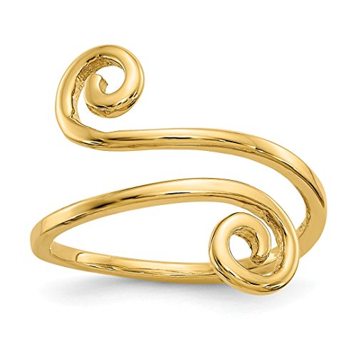 Designer White Gold Toe Ring - 14k Yellow Gold Swirl Adjustable Cute Toe Ring Set Fine Jewelry For Women Gift Set