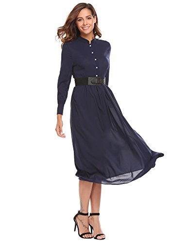 Pleated Long Sleeved Dress - 6