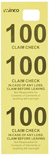 Winco Coat Checks, Yellow, 500 Per Box Coat Check Ticket
