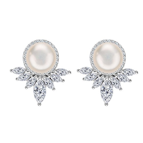 EleQueen 925 Sterling Silver Women's CZ AAA Cream Freshwater Cultured Pearl Marquise Bridal Stud Earrings ()