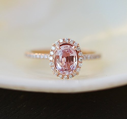Peach sapphire rose gold engagement ring,Peach Pink Sapphire Ring, Oval Cut Engagement Ring, 14k Rose Gold Engagement (Peach Sapphire)