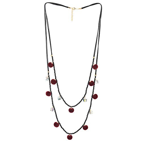 - COOLSTEELANDBEYOND Two-Layer Black Statement Necklace Long Beads Chain with Red Pom Pom Balls and Cube Charms Pendant