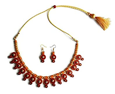 buy dishari by bidisha maroon and brown paper quilling jewellery set rh amazon in  paper quilling jewelry