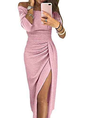 Dokotoo Womens Casual Formal Winter Elegant Off Shoulder 3 4 Sleeve High Waist Solid Ruched Midi Bodycon Slit Dress Party Cocktail Medium