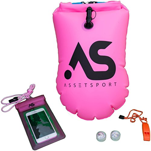 (AssetSport swimming buoy - inflatable safety swim buoy with 2 led lights, whistle and waterproof phone case - portable for open water swim - contains waterproof storage for personal Items. (Pink))