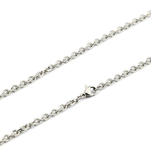 3.5 Mm Diamond (QY Jewelry 3.5MM Diamond Cut Rolo Link Chain - Stainless Steel Necklace For Men & Women - Strong Lobster Claw Clasp, 22-24 inches (24))