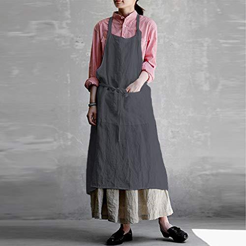 (FAERIE Women Casual Cotton Linen Pinafore Square Cross Apron Garden Work Pinafore Dress (Gray, M))