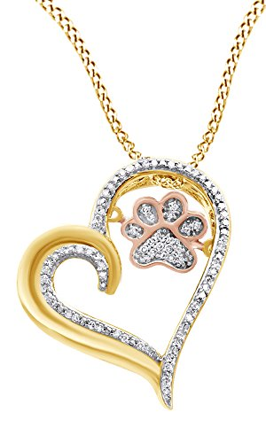 AFFY White Natural Diamond Paw Print Heart Pendant Necklace in 925 Sterling Silver & 10K Rosegold (0.1 Cttw)