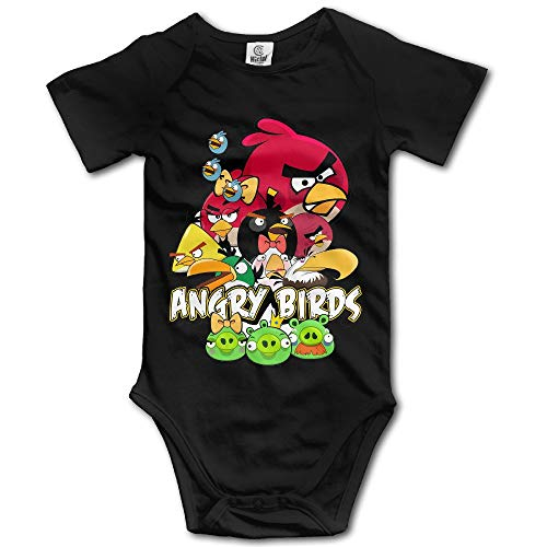 Angry Birds Pig Logo Baby Girls/Boys Short Sleeve Black -
