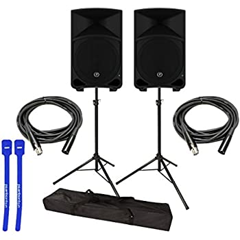"Mackie Thump12 1000W 12"" Powered Loudspeaker Pair w/ Speaker Stands, XLR Cables & Cable Ties"