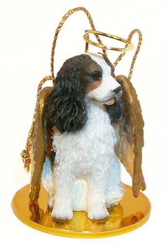 Cavalier King Charles Spaniel Angel Dog Ornament - Tri Color
