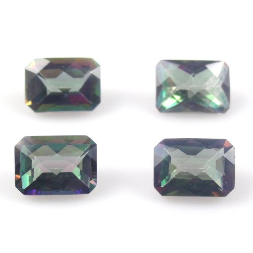 - Natural Mystic Topaz Emerald Cut 7x5mm Approximately 5.40 Carat Checkerboard Cut Top (386)