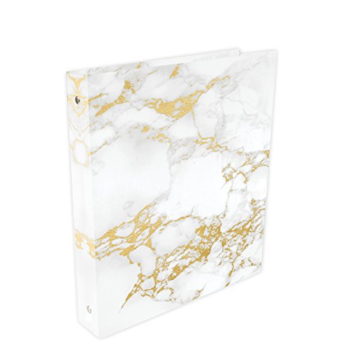"Bloom Daily Planners Binder (+) 3 Ring Binder (+) 1 inch Ring (+) 10"" x 11.5"" - Gold Marble"