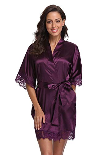Original Kimono Women's Lace-Trimmed Satin Short Kimono Robe Bathrobe Loungewear Purple L