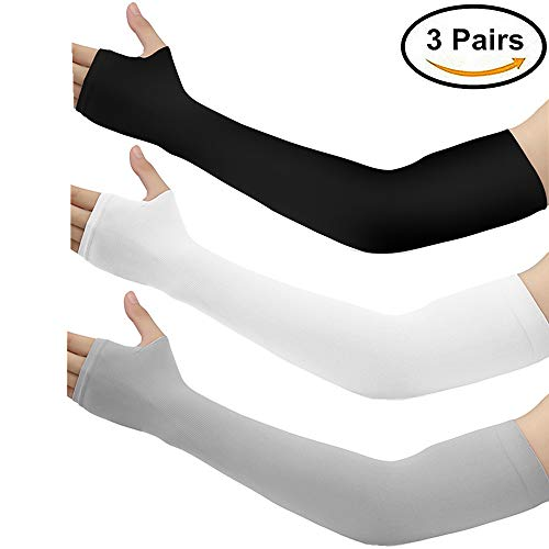 Arm Sleeves for Men Women - Silmy 3 Pairs UV Protection Cooling Arm Sleeves Sunblock Long Sun Sleeves Hands Arm Covers Long Sleeve for Cycling, Driving, Golf, Basketball & Outdoor Activity (Mixed)