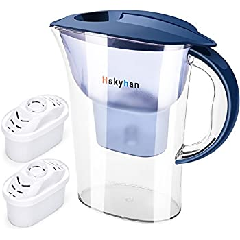 Water Filter Pitcher Alkaline Filtration - 2.5L, BPA Free, 10 Cup Large Size Fast Flow With 2 Filters By Hskyhan