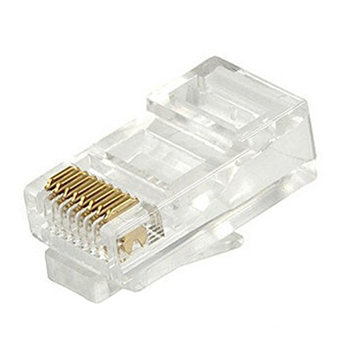 DCKR 200 Pcs RJ45 Connector Plug 8P8C CAT5E Modular Connectors - Small Wiki Faces
