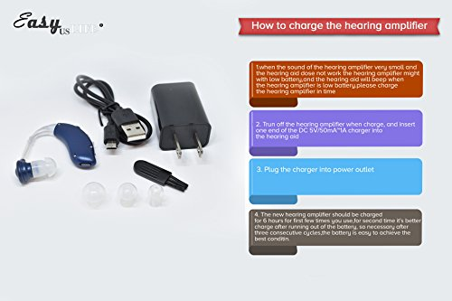 Dark Blue,New behind-the-ear (BTE) Digital Hearing Ear Amplifier Kit By EASYUSLIFE, Rechargeable and Interchangeable, Adjustable Volume Control, Suitable For Men and Women by EASYUSLIFE (Image #7)