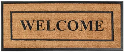 A1 HOME COLLECTIONS A1HOME200127-24X57WEL A1HC-Designer Hand-Crafted Rubber Coir Molded Double Door Mat, Perfect and More Functional Size 24×57 Inch, 24 X57 , Picture Frame Welcome