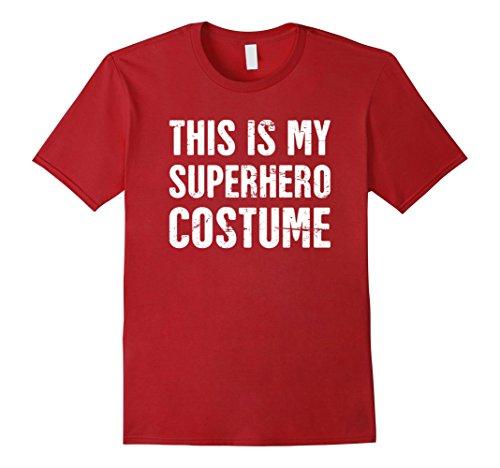 Funny Superhero Costumes (Mens Funny Halloween Superhero Costume T-Shirt Small Cranberry)