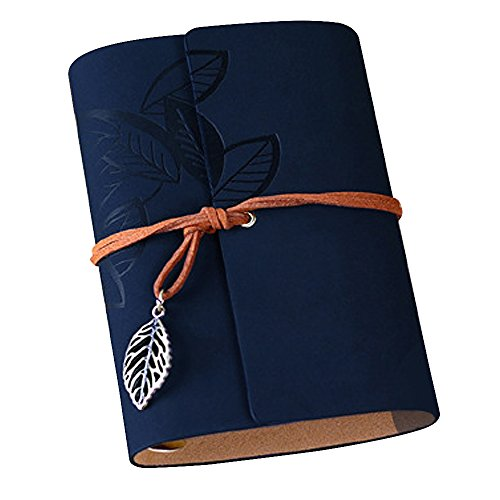 Vintage Leaf Leather Cover Loose Leaf Blank Journal Diary (Blue) - 3