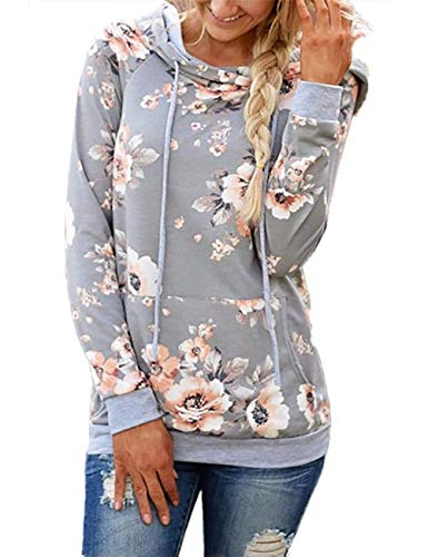 onlypuff Gray Hoodies Women Floral Print Shirt Long Sleeve Hooded Sweatshirt Tunic Tops XL - Top Hooded