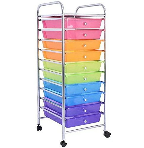 Pink Orange Green Blue Purple 10 Drawers Cart Storage Organizer Rolling Plastic Drawer Scrapbook Paper Shelf Office School Home Rainbow Racks with Lockable Wheels by Royal Office Supplies Manufacturer USA