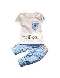 Fanteecy Kids Boys Summer Outfits Short Sleeve T-Shirt & Shorts Sets 12M-3Y Toddler Summer Cartoon Clothing Stripe Shorts