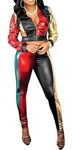 Women's 2 PCS Metallic Luster Stripe Zipper Jackets Bodycon Pants Sexy Nightclub Party Tracksuit Outfits Sports Set