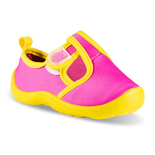 (Aqua Kiks Girls' Water Shoes - Pink/Yellow, 8 Toddler)