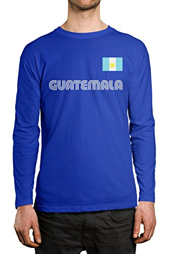 SpiritForged Apparel Guatemala Soccer Jersey Men's Long Sleeve Shirt, Royal XL
