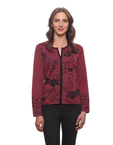 Alpaca Wool Womens Sweaters (Women's 100% Baby Alpaca Reversible Embroidered Cardigan Sweater)