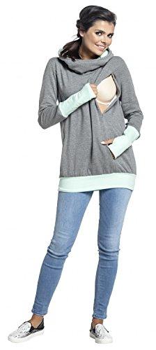Zeta Ville - Sudadera de lactancia 2 en 1 detalles contraste - para mujer - 330c Gris & Menta