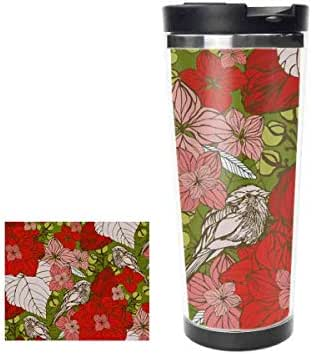 Red Floral and Birds Stainless Steel Thermos Water Bottle Insulated Vacuum Cup Leak Proof Double Vacuum Bottle for Hot and Cold Drinks Coffee or Tea, Travel Thermal Mug14oz,400ML