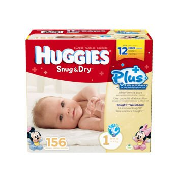 2 Wholesale Lots Huggies Snug and Dry Plus Diapers Size 1, 312 Diapers Total