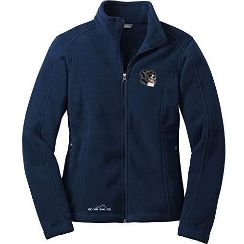 - Cherrybrook Dog Breed Embroidered Ladies Eddie Bauer Fleece Jacket - Medium - River Blue - Border Collie
