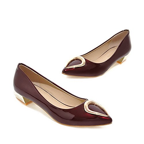AllhqFashion Damen Lackleder Niedriger Absatz Rein Ziehen auf Spitz Zehe Pumps Schuhe Rot
