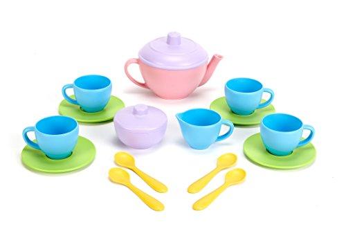 Juego de té Green Toys - Libre de BPA, juguetes de juego sin ftalatos para motricidad gruesa, desarrollo de habilidades finas. Juguetes de cocina